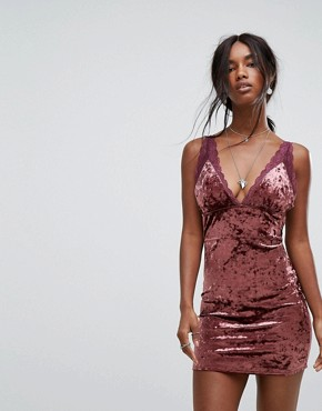 photo Viper Velvet Bodycon Dress by Free People, color Raspberry - Image 1