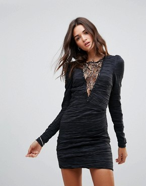 photo Look of Love Lace Insert Bodycon Dress by Free People, color Black - Image 1