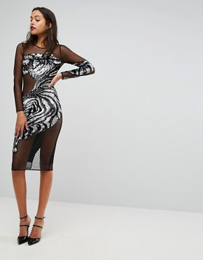 photo Embellished Tiger Mesh Bodycon Midi Dress by ASOS, color Black/Silver - Image 1