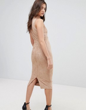 photo Asymmetric Cut Out Suede Midi Dress by ASOS, color Camel - Image 2