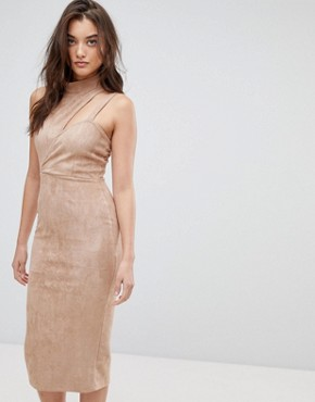 photo Asymmetric Cut Out Suede Midi Dress by ASOS, color Camel - Image 1
