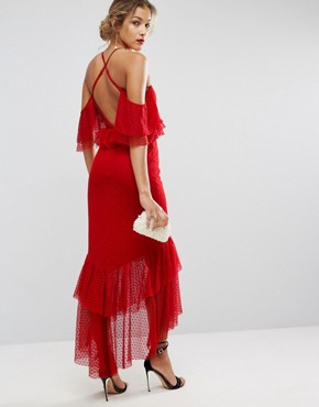 photo Cold Shoulder Dobby Plunge Maxi Dress by ASOS, color Red - Image 2