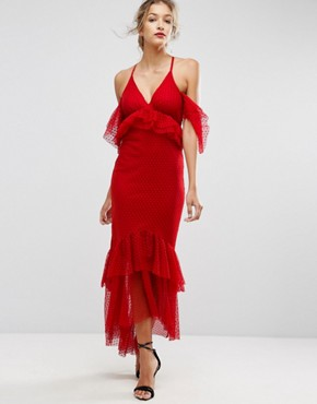 photo Cold Shoulder Dobby Plunge Maxi Dress by ASOS, color Red - Image 1