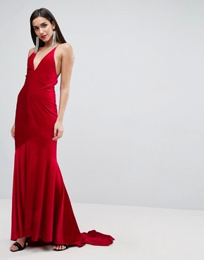 photo Velvet Deep Plunge Strappy Maxi Dress by ASOS Red Carpet, color Red - Image 2