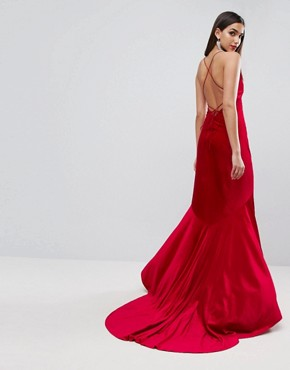 photo Velvet Deep Plunge Strappy Maxi Dress by ASOS Red Carpet, color Red - Image 1