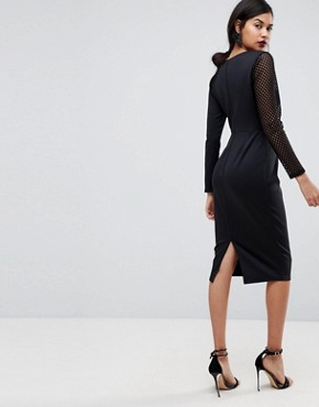 photo Midi Pencil Dress with Mesh Sleeve and Tuck Detail by ASOS, color Black - Image 2