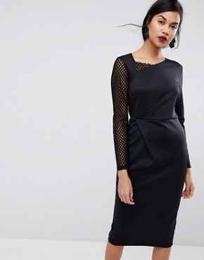 photo Midi Pencil Dress with Mesh Sleeve and Tuck Detail by ASOS, color Black - Image 1