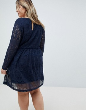 photo Lace Botton Down Dress by Junarose, color Navy - Image 2