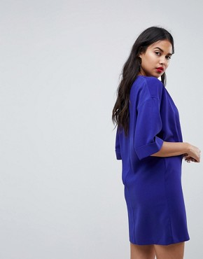 photo Mini Shift Tux Dress by ASOS, color Cobalt - Image 2