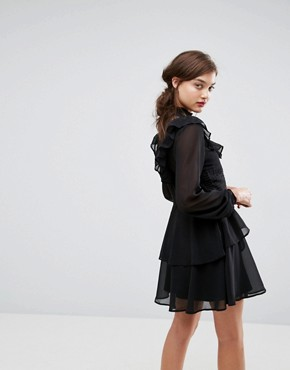 photo Dobby Ruffle Mini Dress by ASOS, color Black - Image 2