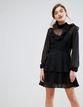 photo Dobby Ruffle Mini Dress by ASOS, color Black - Image 1