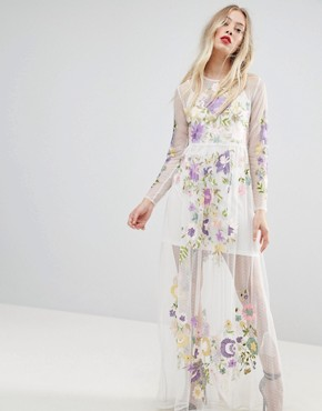 photo Embroidered Mesh Maxi Dress by ASOS PREMIUM, color Optic White - Image 1