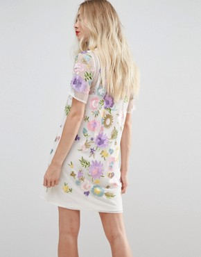 photo Embroidered Mesh T-Shirt Dress by ASOS PREMIUM, color Optic White - Image 2