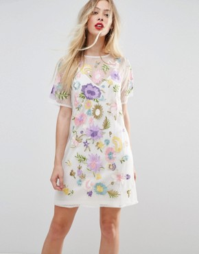 photo Embroidered Mesh T-Shirt Dress by ASOS PREMIUM, color Optic White - Image 1