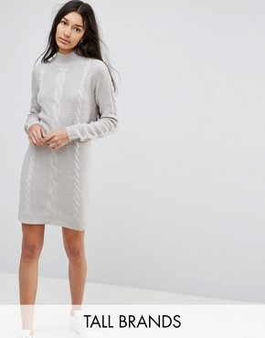 photo Cable Knit Jumper Dress by Brave Soul Tall, color Cloud Grey - Image 1