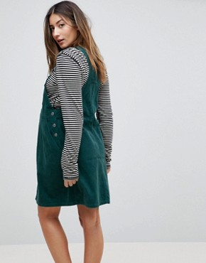 photo Maternity Cord Dungaree Dress in Emerald Green by ASOS DESIGN, color Emerald - Image 2