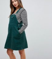 photo Maternity Cord Dungaree Dress in Emerald Green by ASOS DESIGN, color Emerald - Image 1