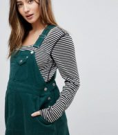 photo Maternity Cord Dungaree Dress in Emerald Green by ASOS DESIGN, color Emerald - Image 3