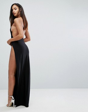 photo Slinky Wrap Front Maxi Dress by Club L, color Black - Image 2