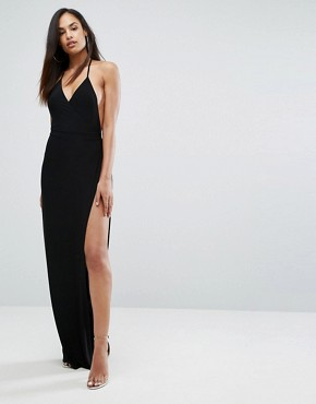 photo Slinky Wrap Front Maxi Dress by Club L, color Black - Image 1