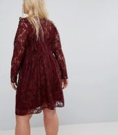 photo Lace Smock Mini Dress with Ruffles by ASOS CURVE, color Oxblood - Image 2