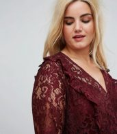 photo Lace Smock Mini Dress with Ruffles by ASOS CURVE, color Oxblood - Image 3