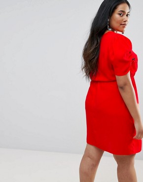 photo Mini Tea Dress with Elasticated Waist by ASOS CURVE, color Red - Image 2