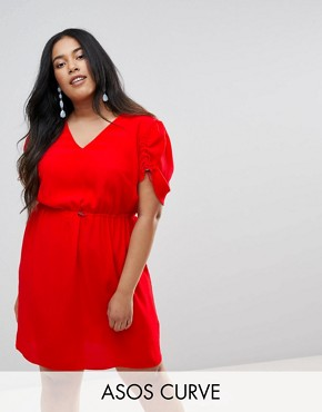 photo Mini Tea Dress with Elasticated Waist by ASOS CURVE, color Red - Image 1