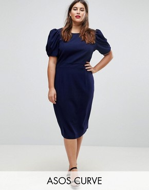 photo Midi Pencil Dress by ASOS DESIGN Curve, color Navy - Image 1