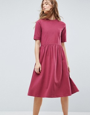 photo Midi Ultimate Cotton Smock Dress by ASOS, color Oxblood - Image 2