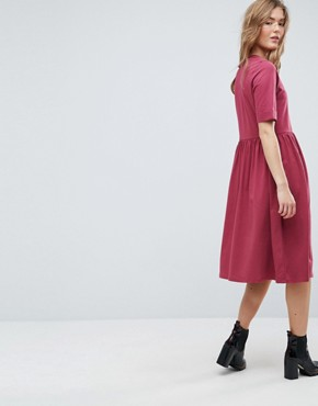 photo Midi Ultimate Cotton Smock Dress by ASOS, color Oxblood - Image 3