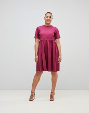 photo Midi Ultimate Cotton Smock Dress by ASOS, color Oxblood - Image 4