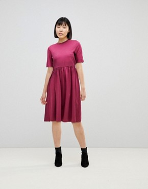 photo Midi Ultimate Cotton Smock Dress by ASOS, color Oxblood - Image 1