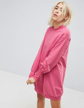 photo Oversized Sweat Dress with Balloon Sleeve by ASOS, color Rose - Image 1