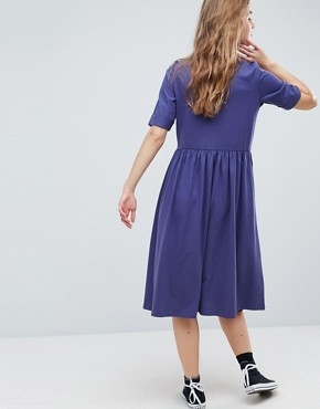 photo Midi Ultimate Cotton Smock Dress by ASOS, color Navy - Image 2