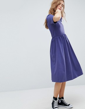 photo Midi Ultimate Cotton Smock Dress by ASOS, color Navy - Image 1
