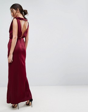 photo Drape Satin Maxi Dress by ASOS, color Oxblood - Image 2