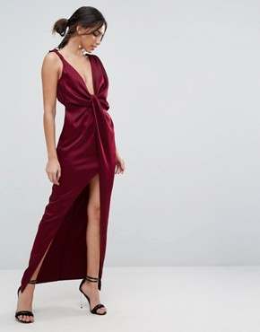 photo Drape Satin Maxi Dress by ASOS, color Oxblood - Image 1