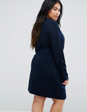 photo Knitted Dress with Batwing and Ring Detail by ASOS CURVE, color Navy - Image 2