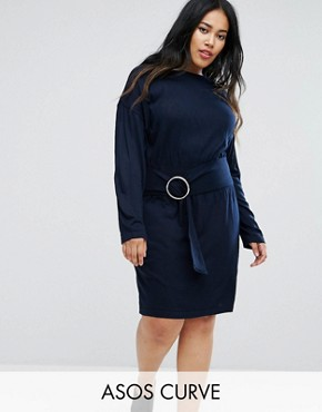 photo Knitted Dress with Batwing and Ring Detail by ASOS CURVE, color Navy - Image 1