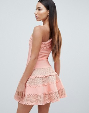 photo Structured One Shoulder Skater Dress with Lace Inserts by Forever Unique, color Peach - Image 2
