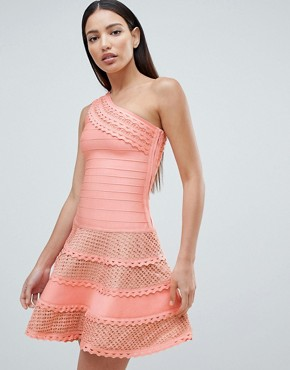 photo Structured One Shoulder Skater Dress with Lace Inserts by Forever Unique, color Peach - Image 1