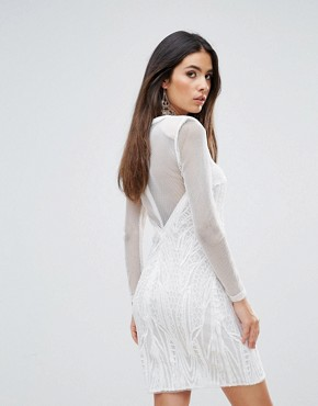 photo Plunge V-Neck Bodycon Dress by Forever Unique, color Ivory - Image 2