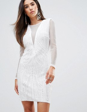 photo Plunge V-Neck Bodycon Dress by Forever Unique, color Ivory - Image 1