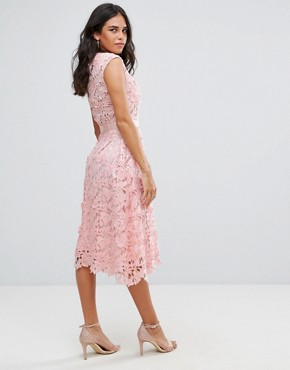 photo Lace Midi Dress by Forever Unique, color Pale Pink - Image 2