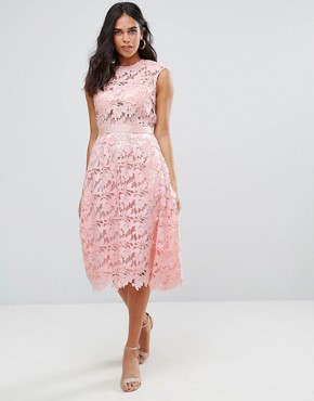 photo Lace Midi Dress by Forever Unique, color Pale Pink - Image 1