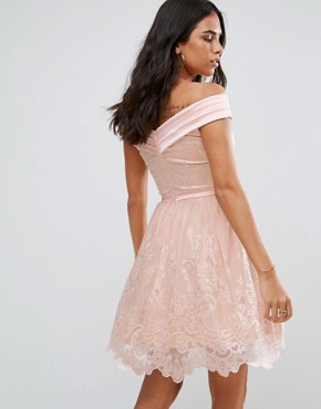 photo Bardot Cross Over Mini Lace Skater Dress by Forever Unique, color Pink - Image 2