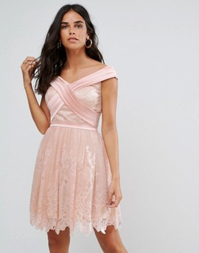 photo Bardot Cross Over Mini Lace Skater Dress by Forever Unique, color Pink - Image 1