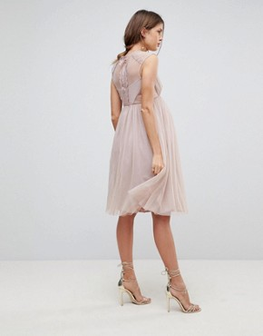 photo Lace Tulle Cap Sleeve Midi Dress by ASOS Maternity, color Mink - Image 2