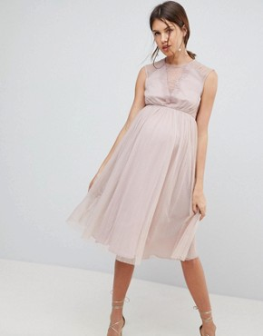 photo Lace Tulle Cap Sleeve Midi Dress by ASOS Maternity, color Mink - Image 1